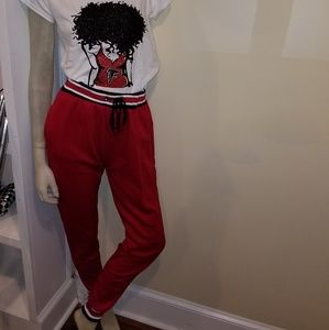 Red Striped Joggers